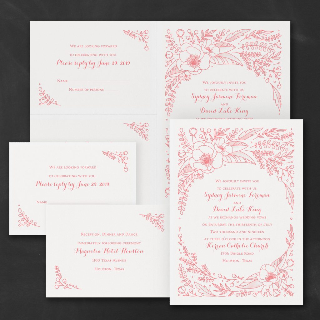 flower surround wedding invitation budget friendly