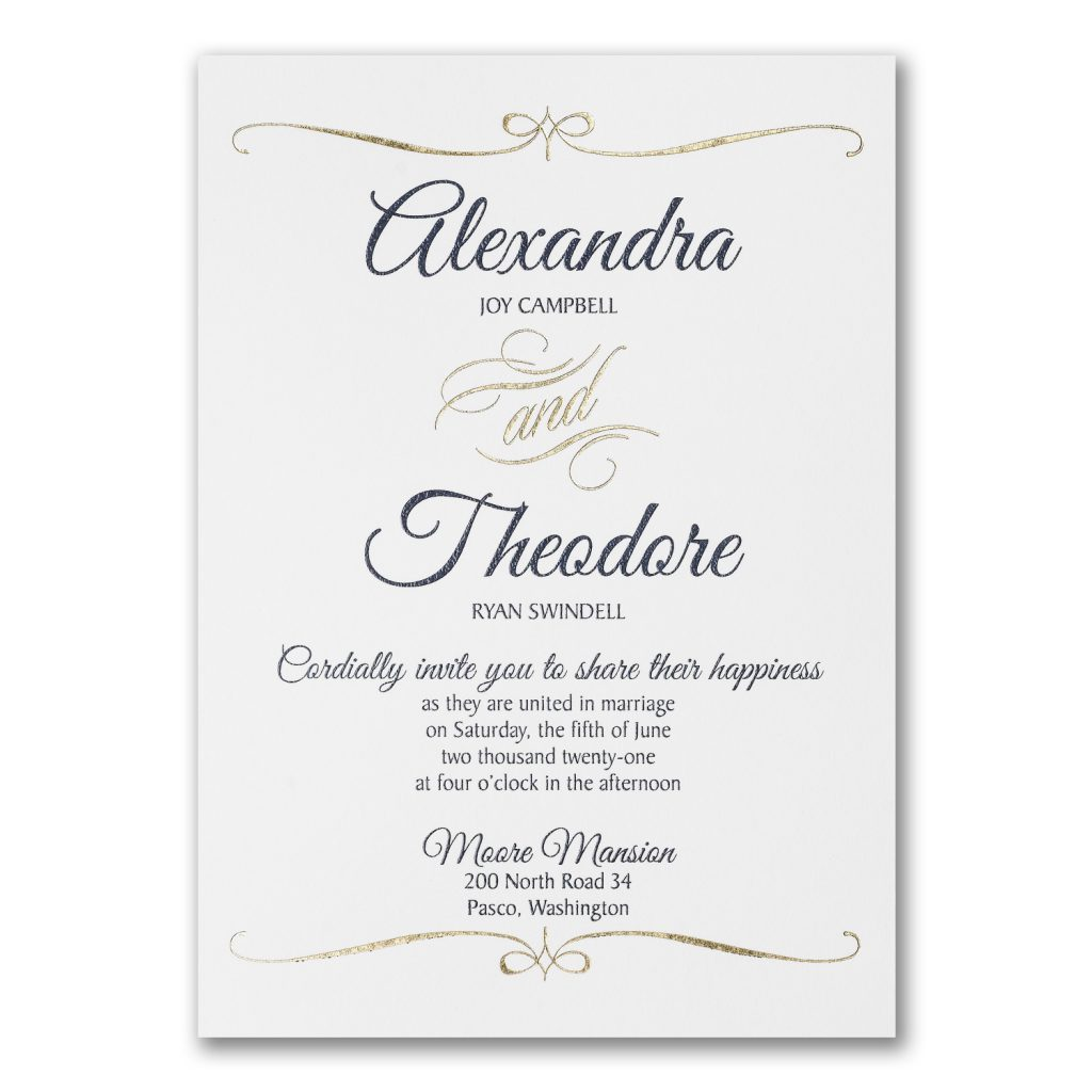 foil swirl wedding invitation