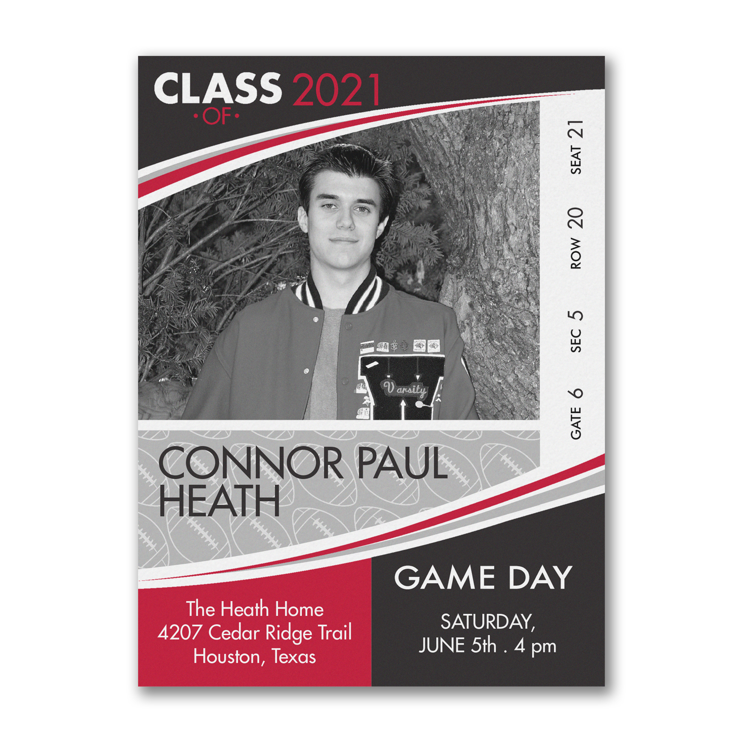 football high school graduation invitation