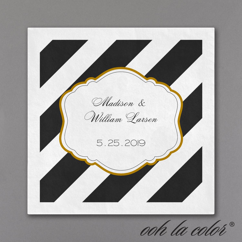 glamorous stripes cocktail napkin