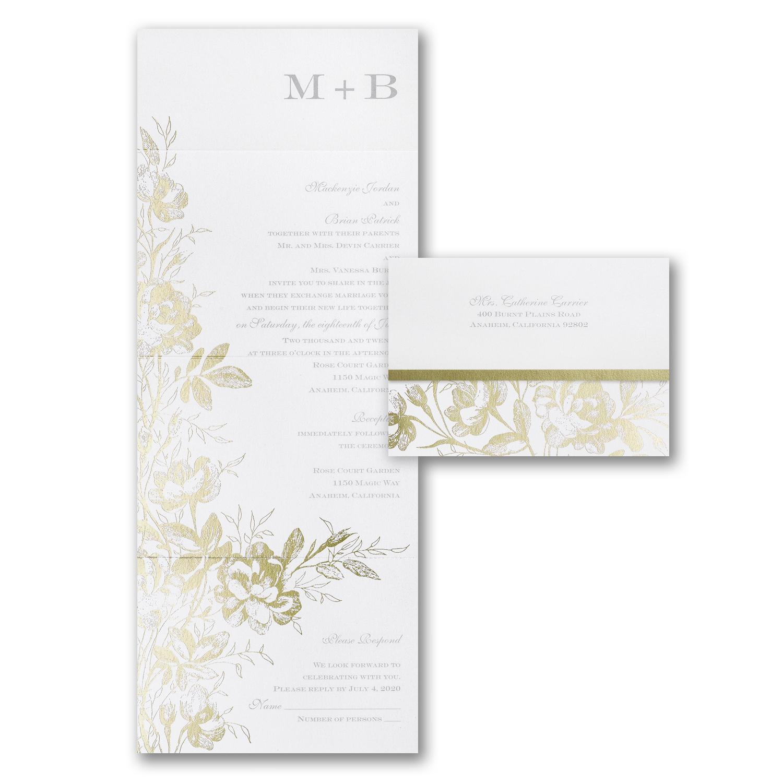 golden garden wedding invitation budget friendly