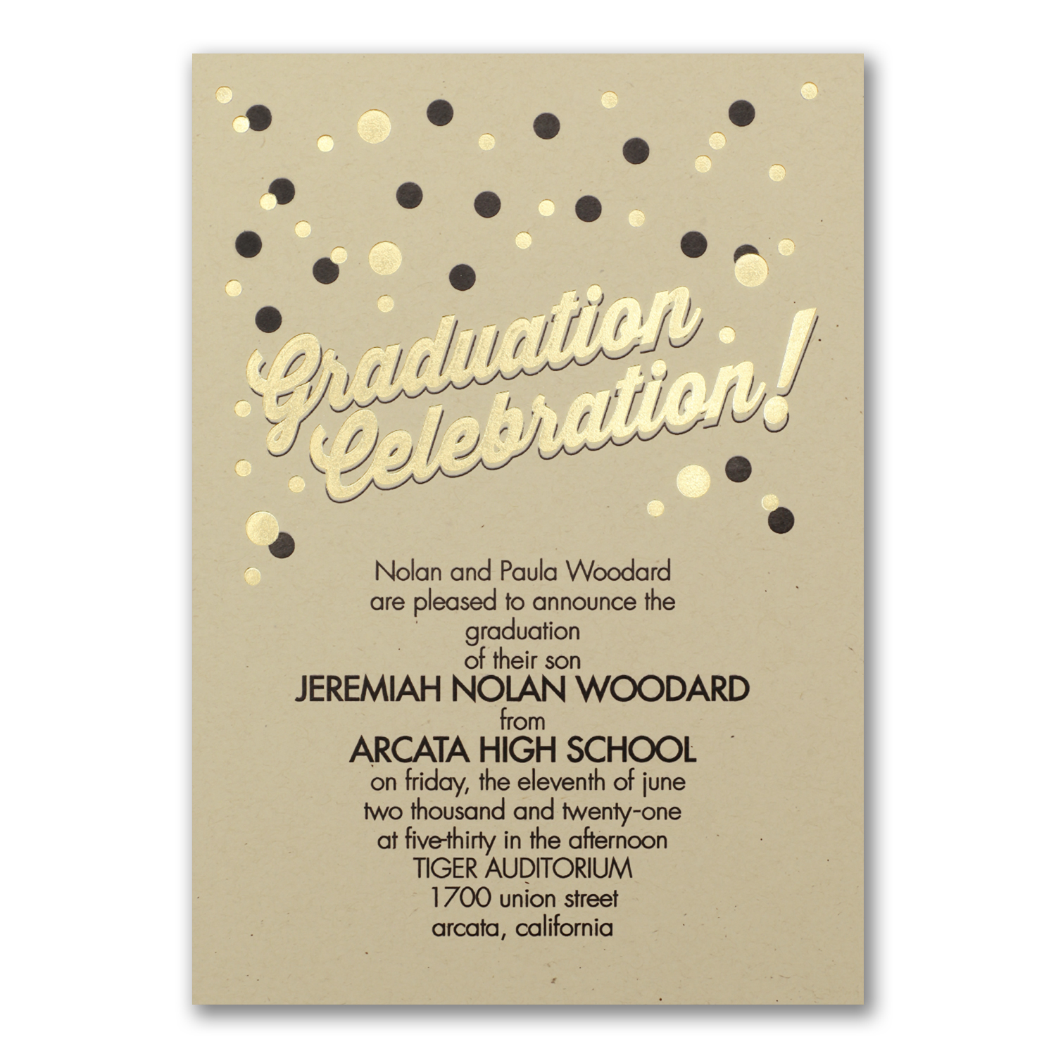 confetti dots gold and black graduation announcement