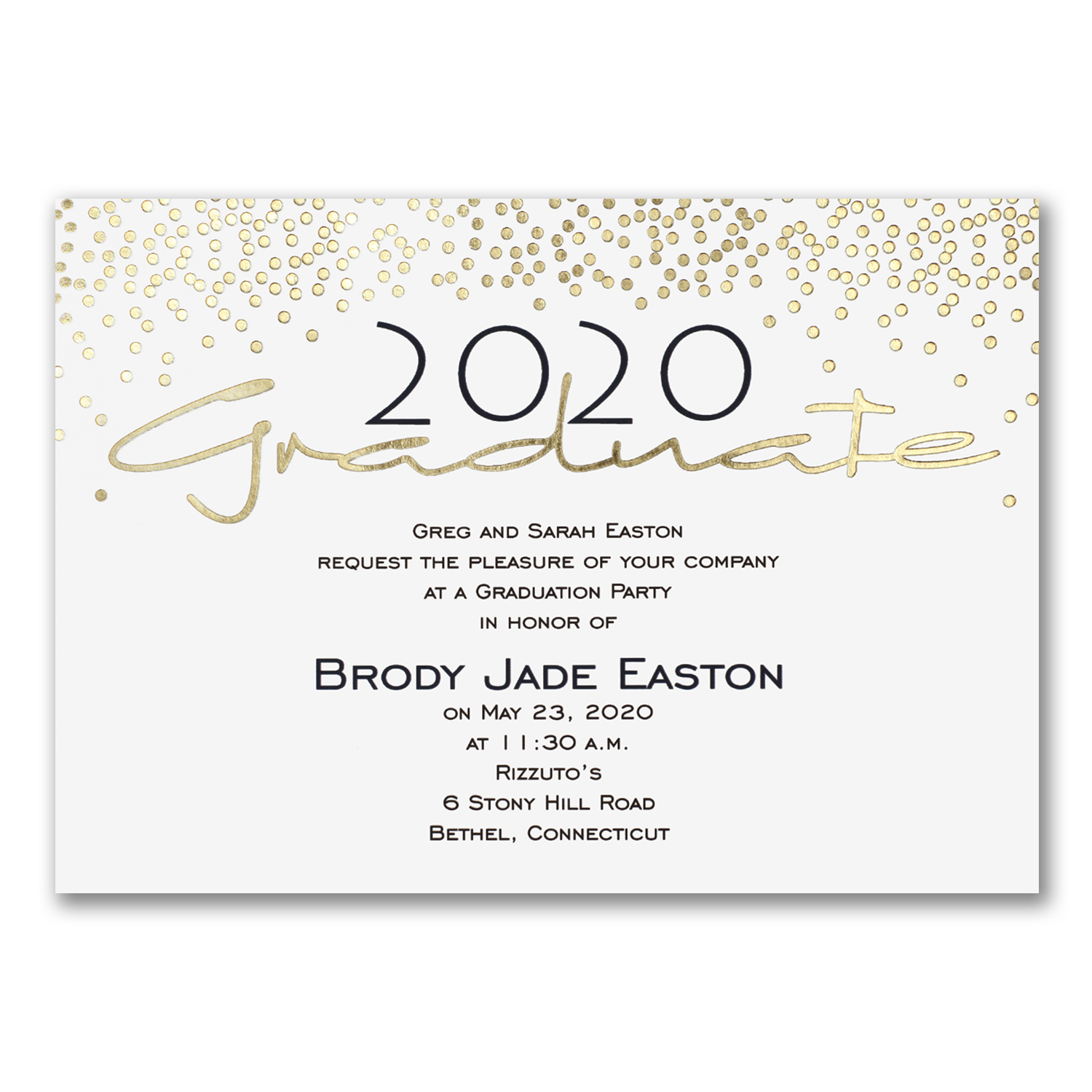 graduation gold foil black and