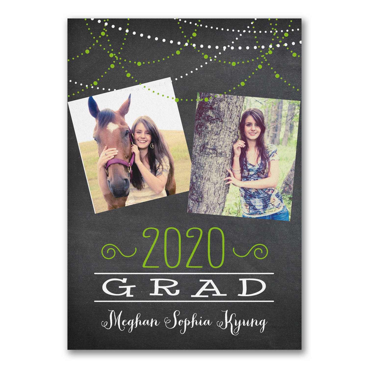 grad lights photo graduation announcement