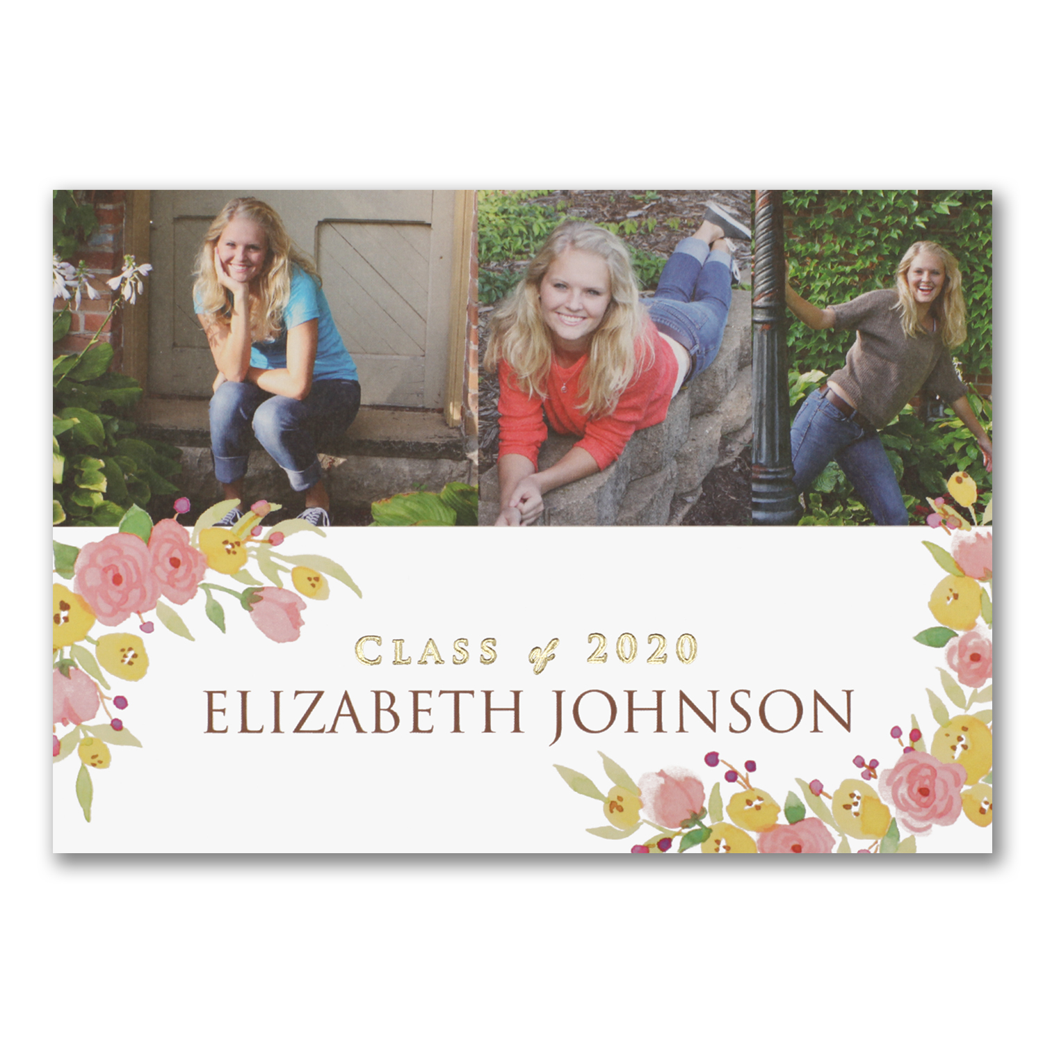 posies photo graduation announcement