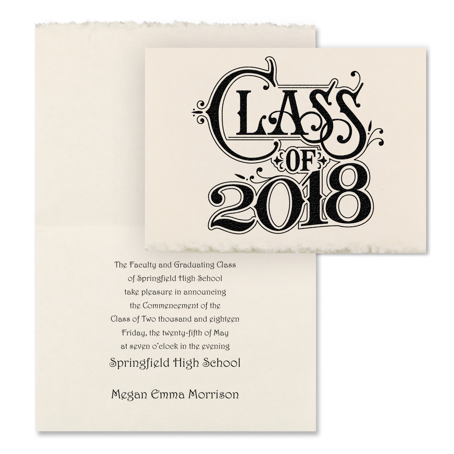 graduation deckled edge announcement
