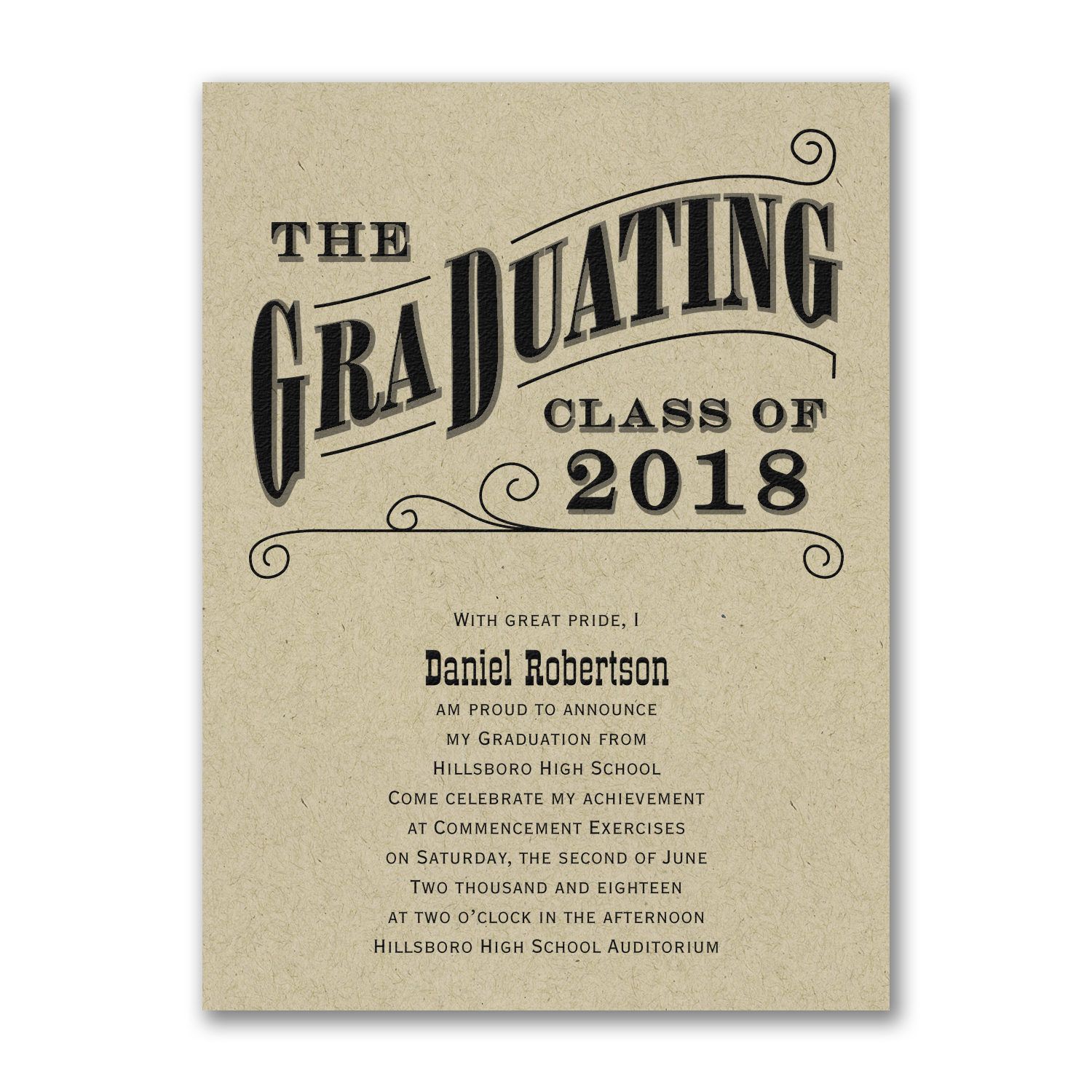 grad type graduation announcement kraft paper