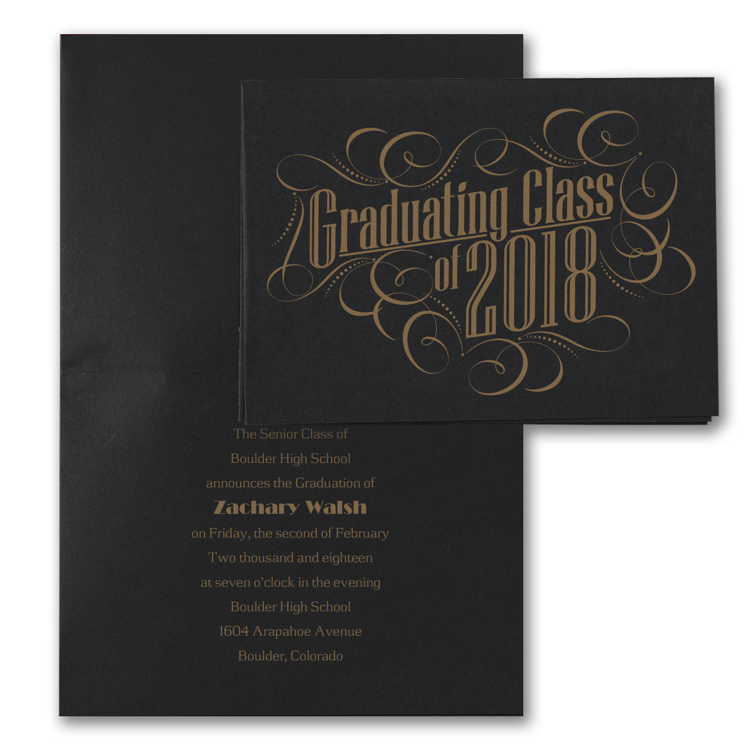 black and gold folded graduation announcement
