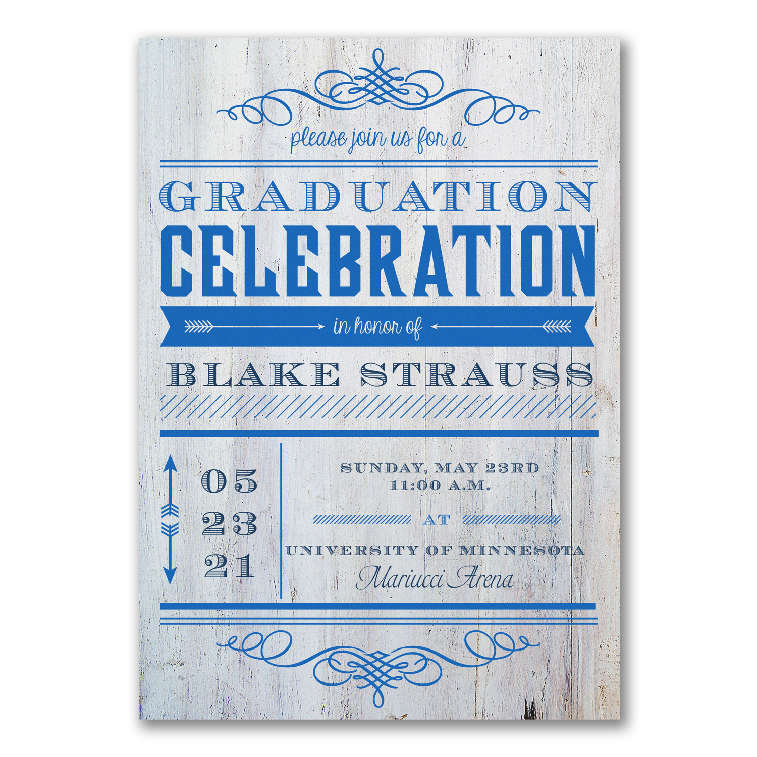 graduation celebration announcement wooden blue