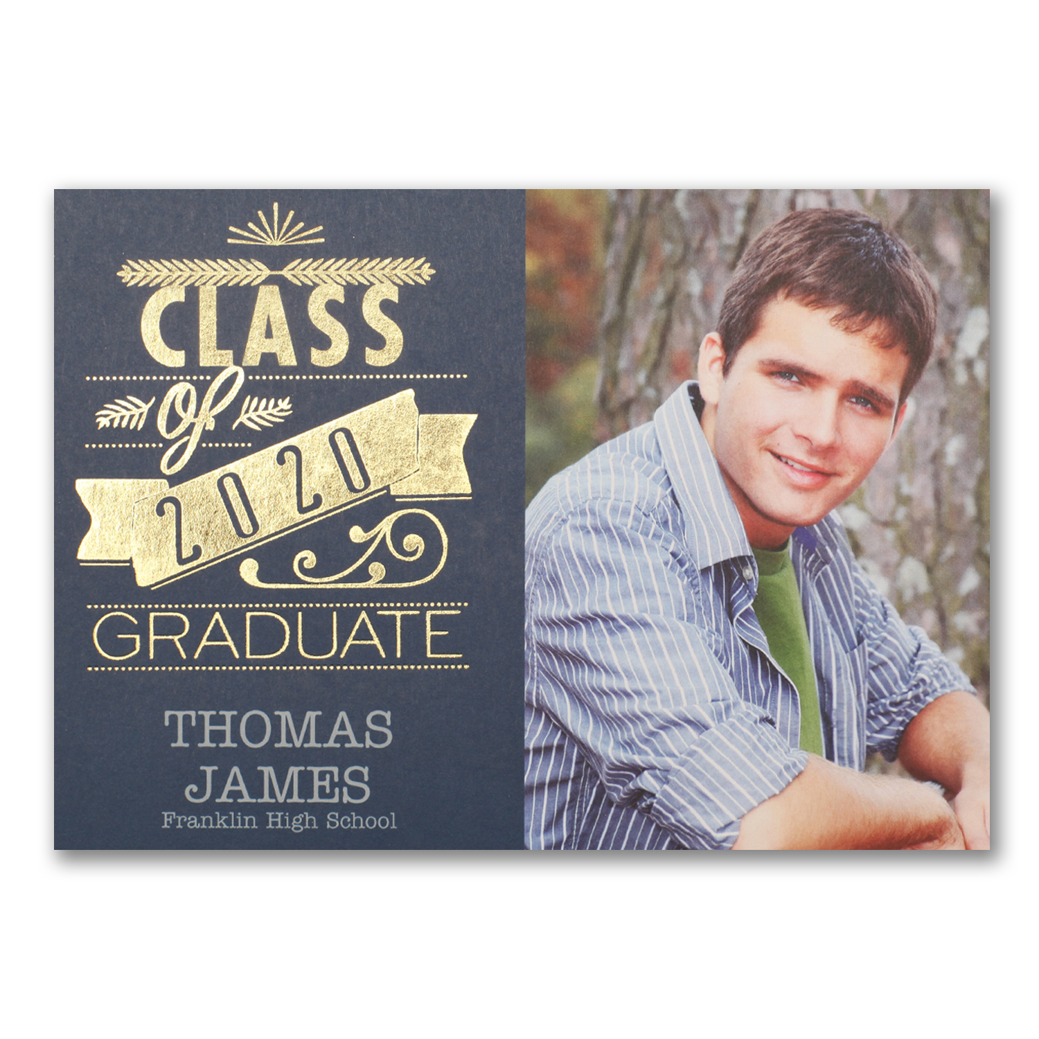 graduation shine invitation navy and gold foil