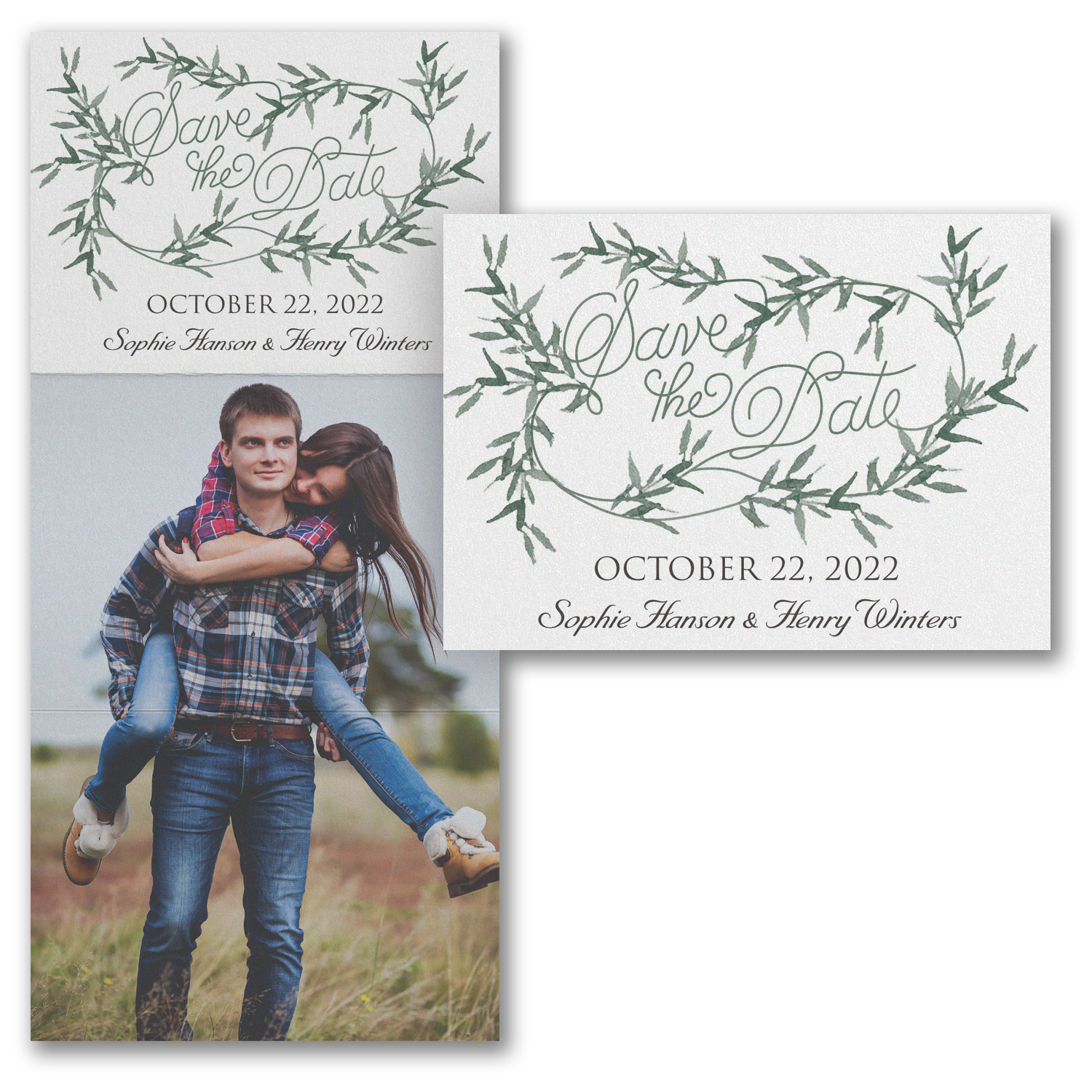 greenery wreath photo save the date trifold carlson craft