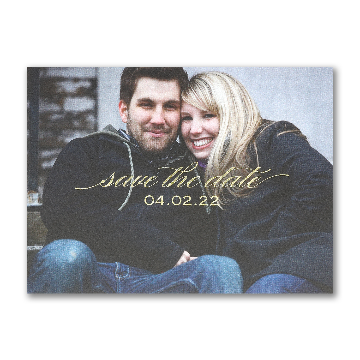 happily together photo save the date foil