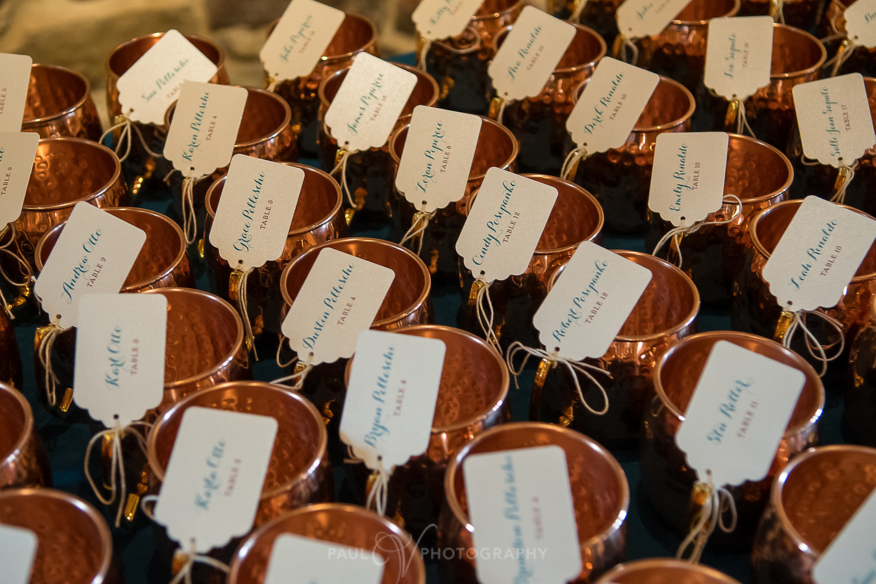 harvest view barn at hershey farms wedding copper mugs