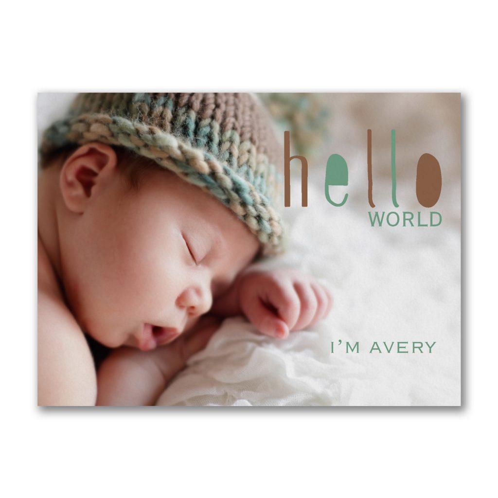 83341b4ad222 Sweet Swirls- Baby Shower Invitation. Hello World -Photo Birth Announcement