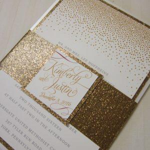 gold glitter wedding invitation confetti