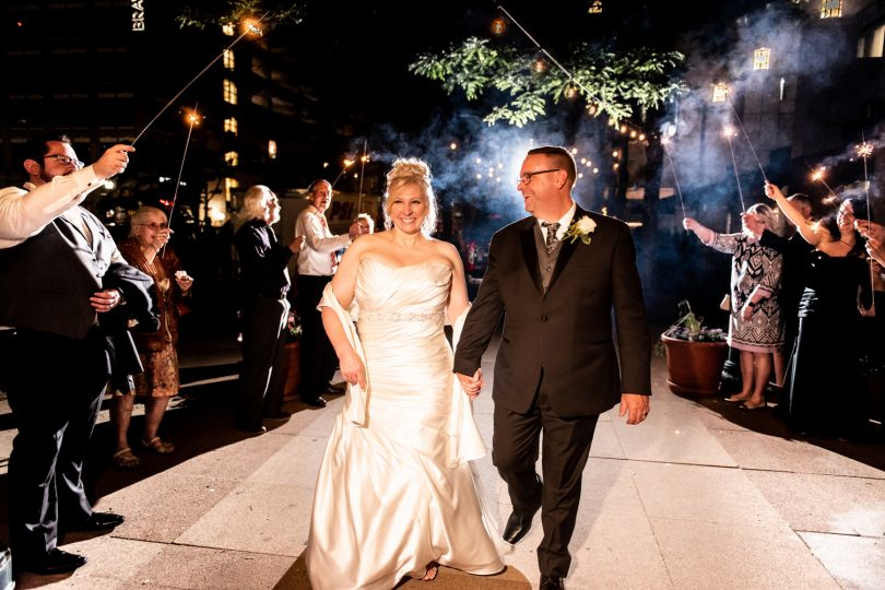 hilton harrisburg wedding emerald stone photography sparkler send off