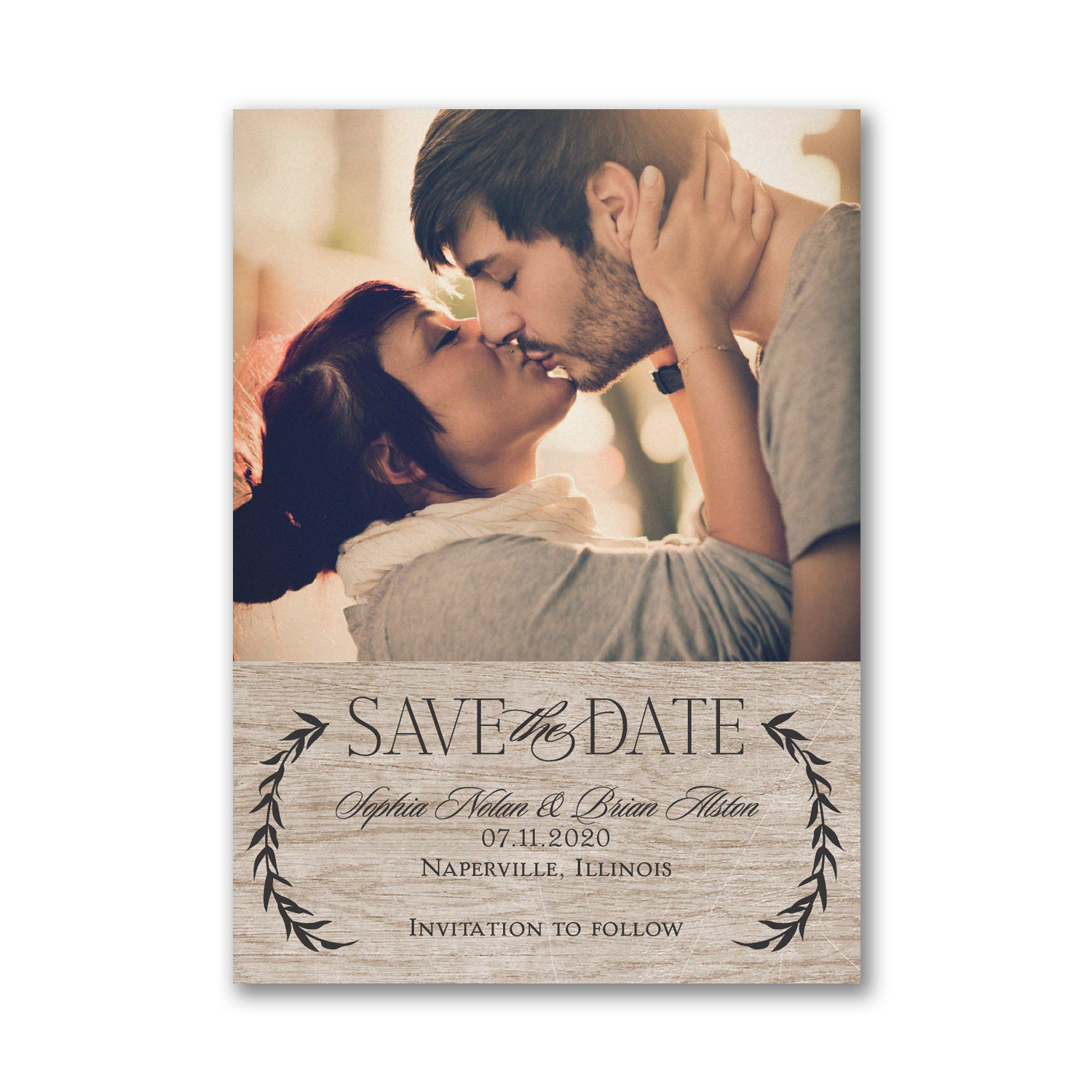 leafy natural photo save the date card carlson craft