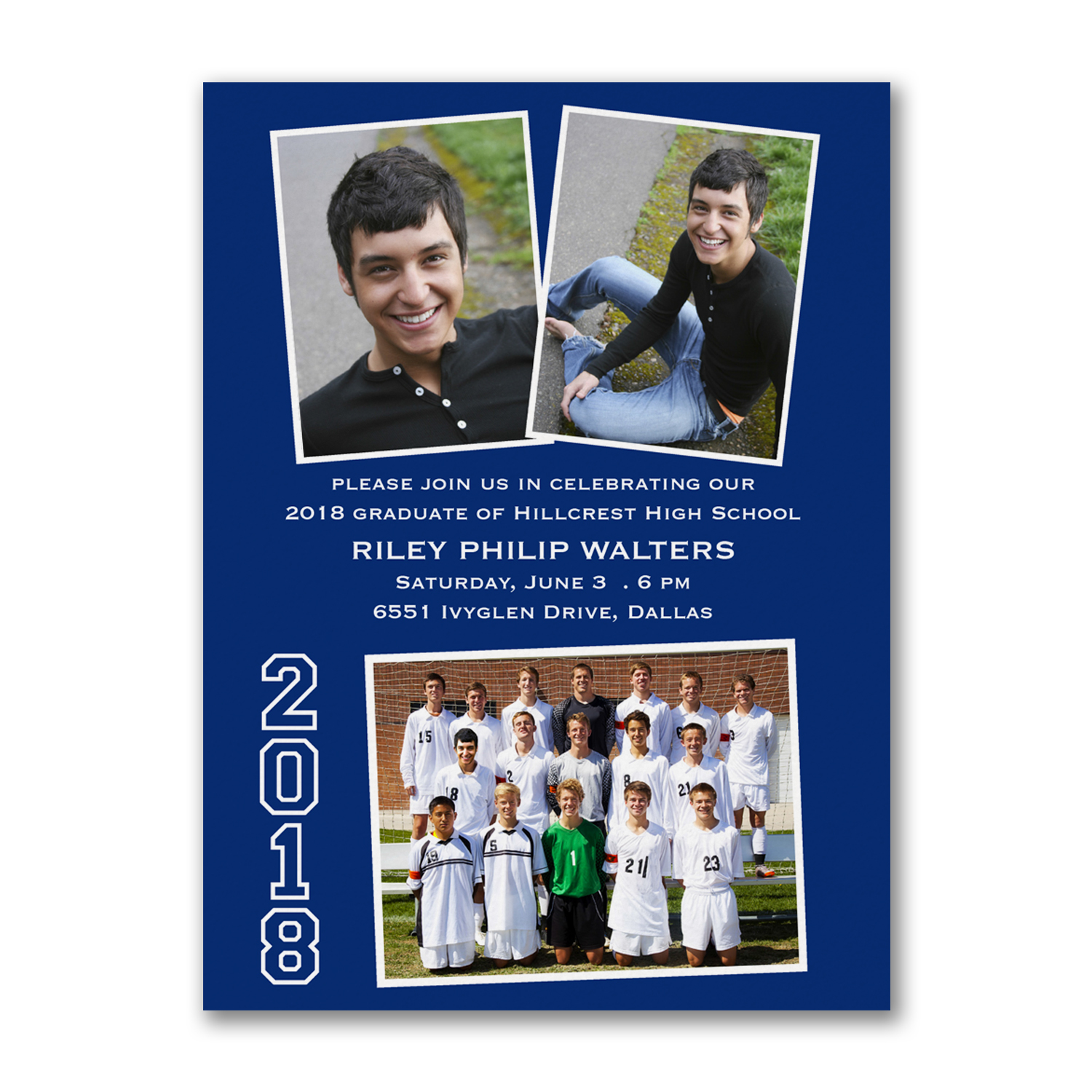 photo collage navy graduation invitaiton