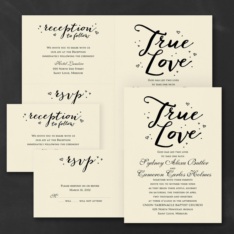 watercolor typography wedding invitation budget friendly
