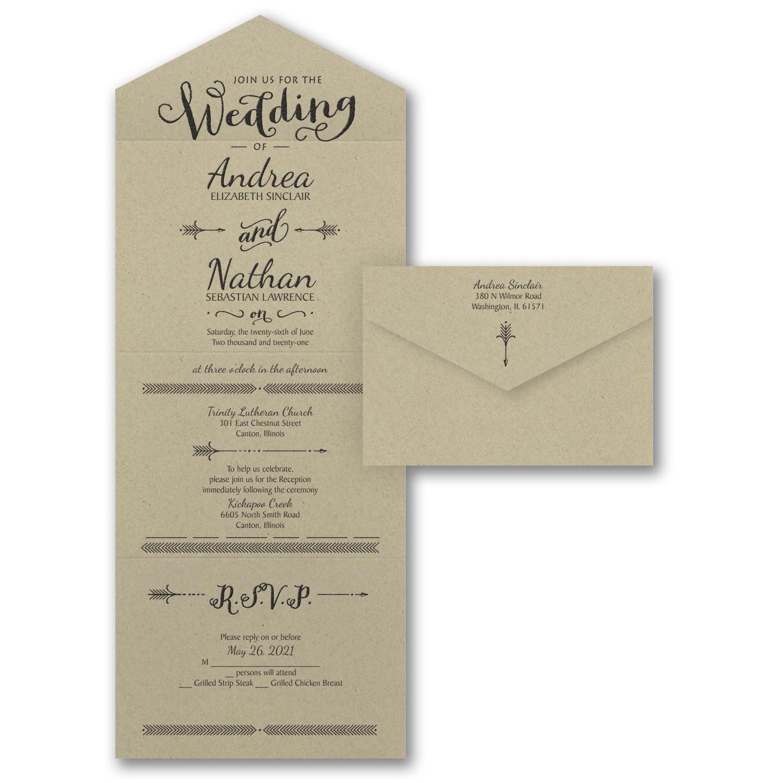 loves arrow wedding invitation budget friendly