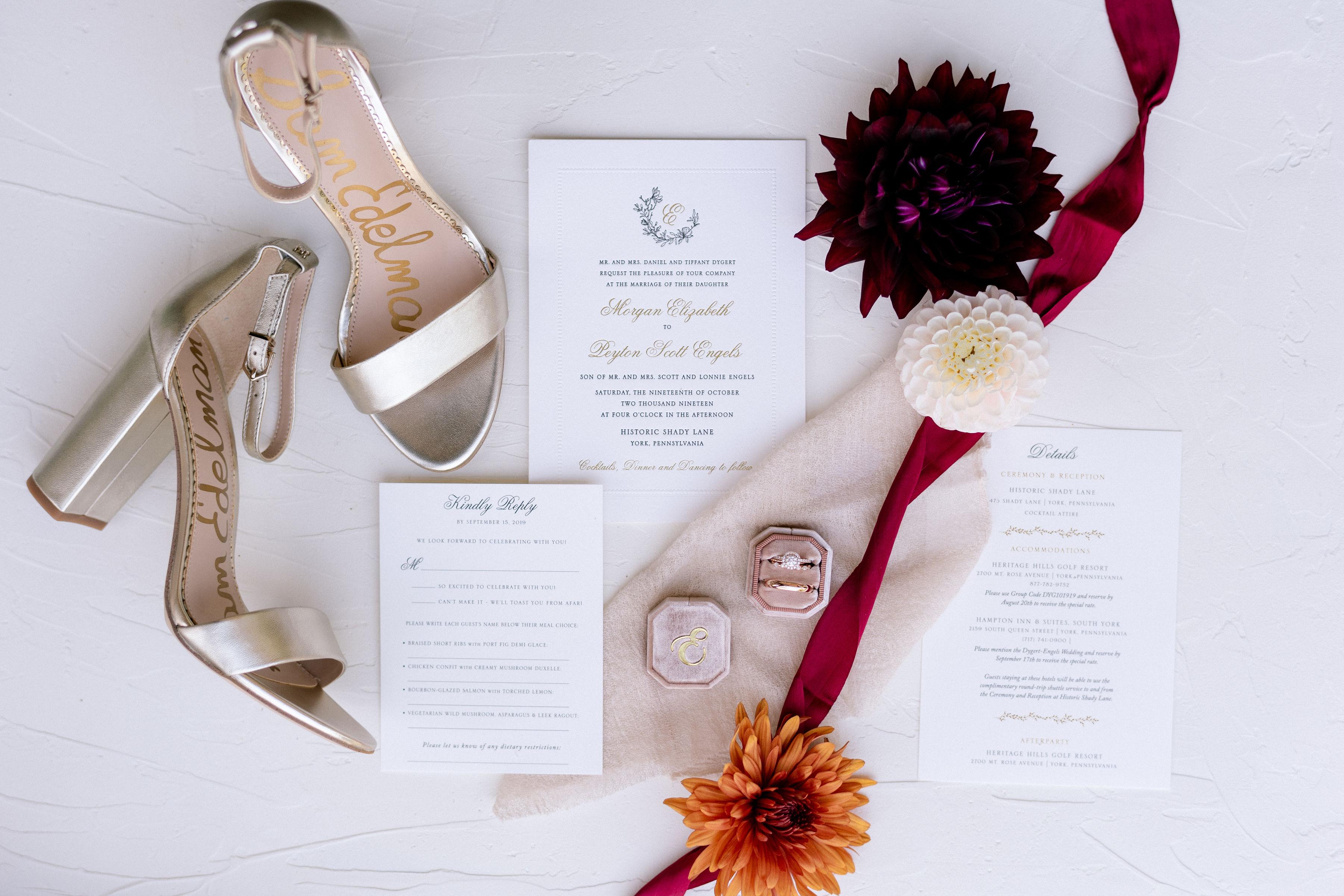 custom wedding invitation silk ribbon sam edelman bridal shoes