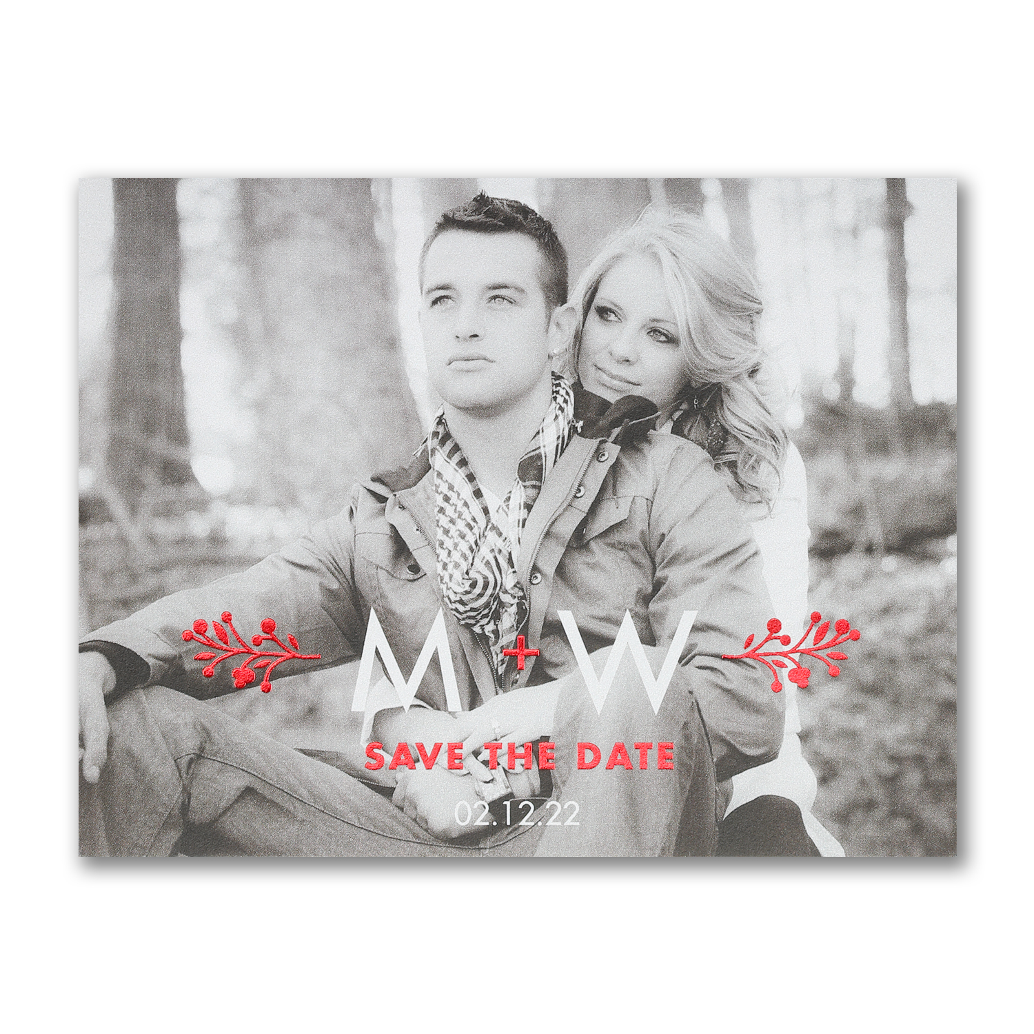 photo save the date postcard foiling