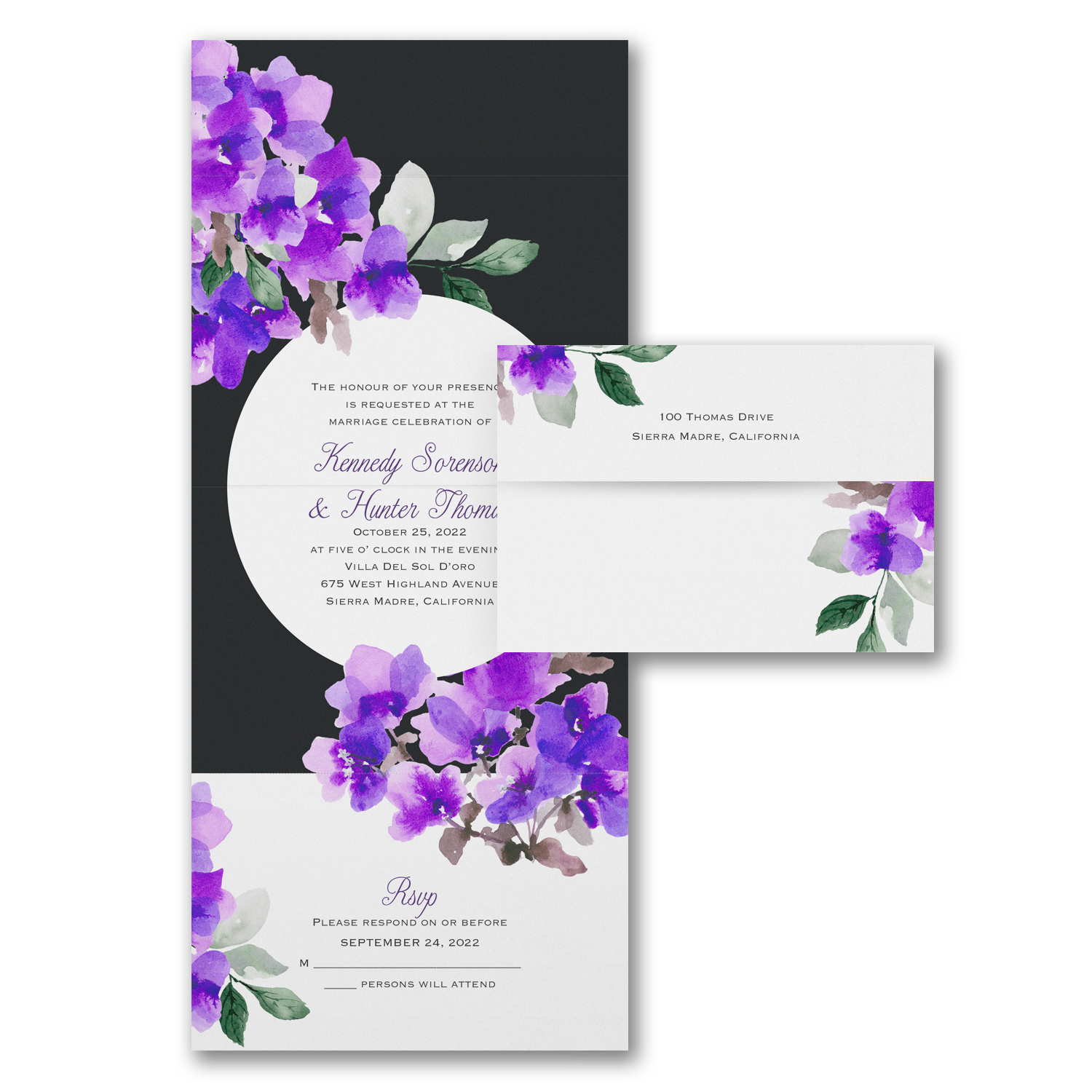 floral black and white wedding invitation