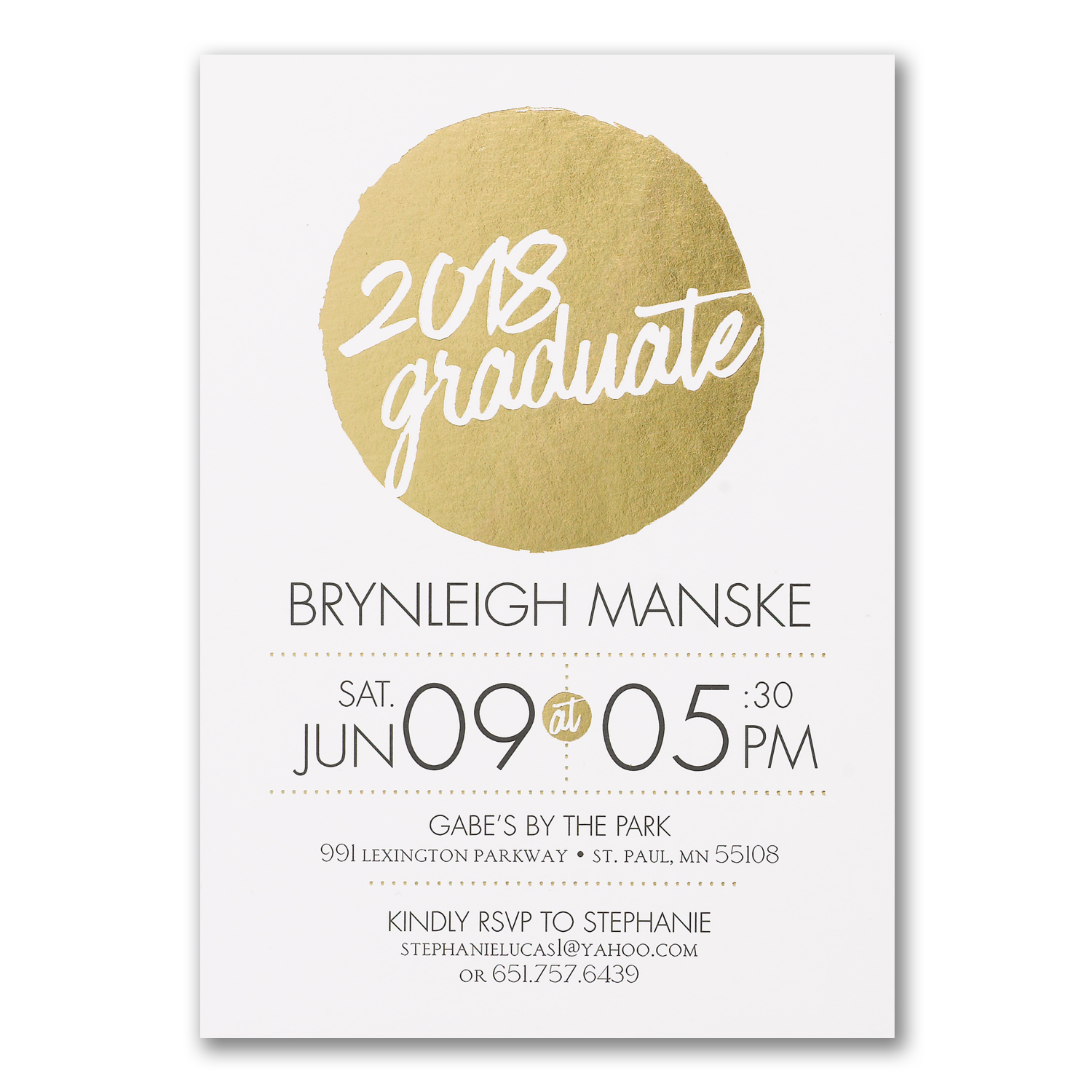 milestone dot gold foil graduation announcement