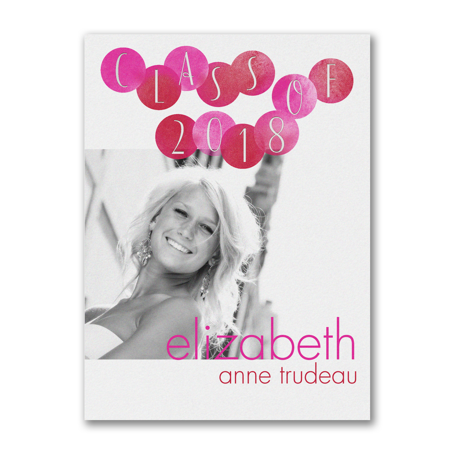 mod dots pink and white photo graduation invitation