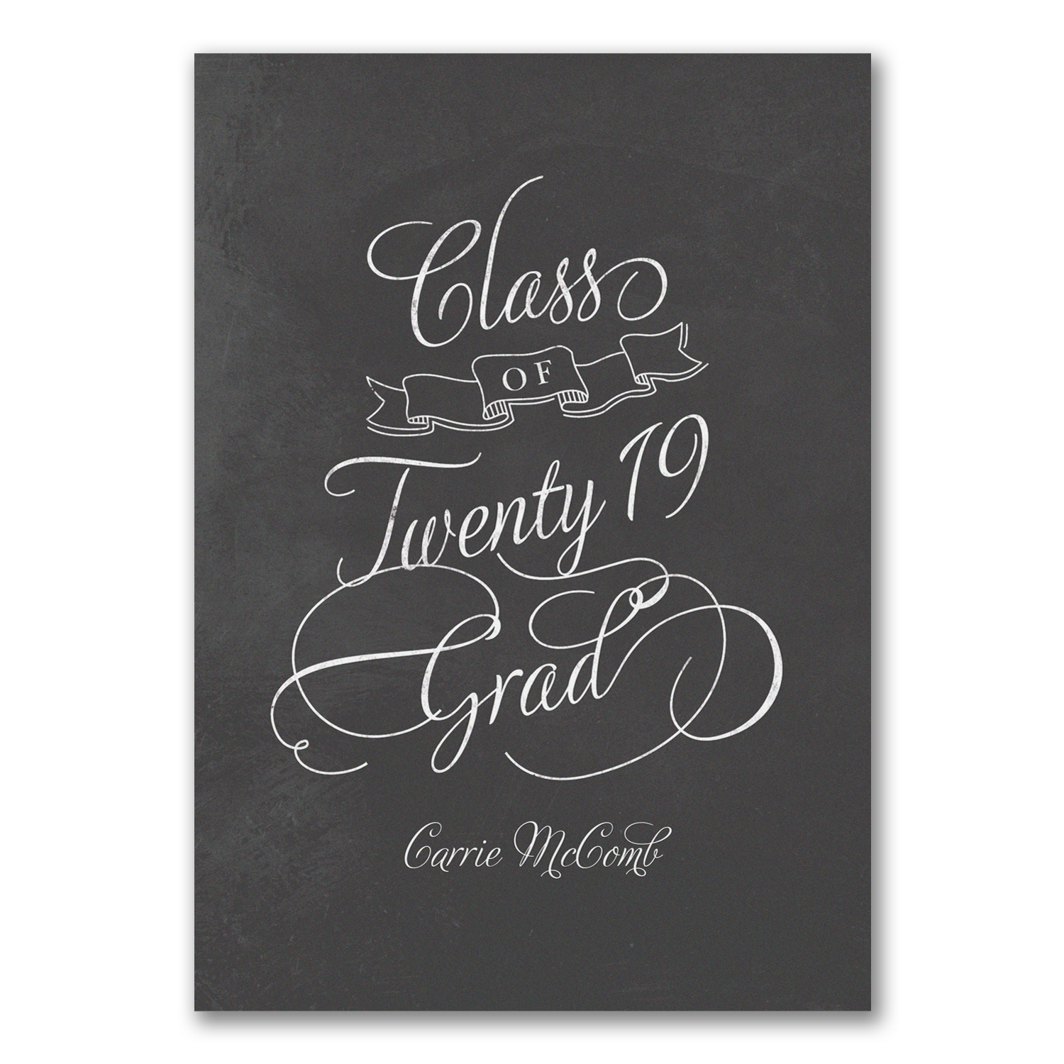 modern chalkboard double sided photo graduation invitation