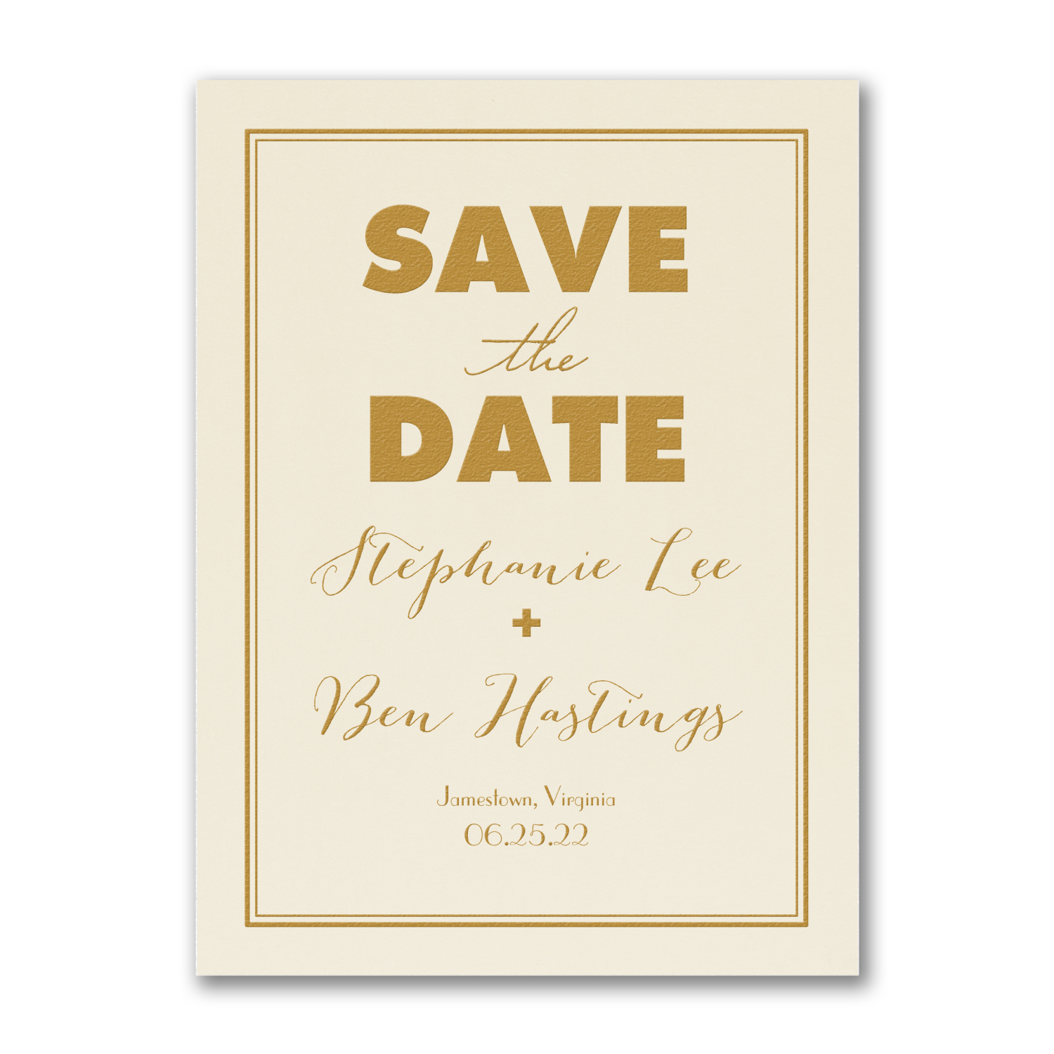 modern frame gold foil save the date carlson craft