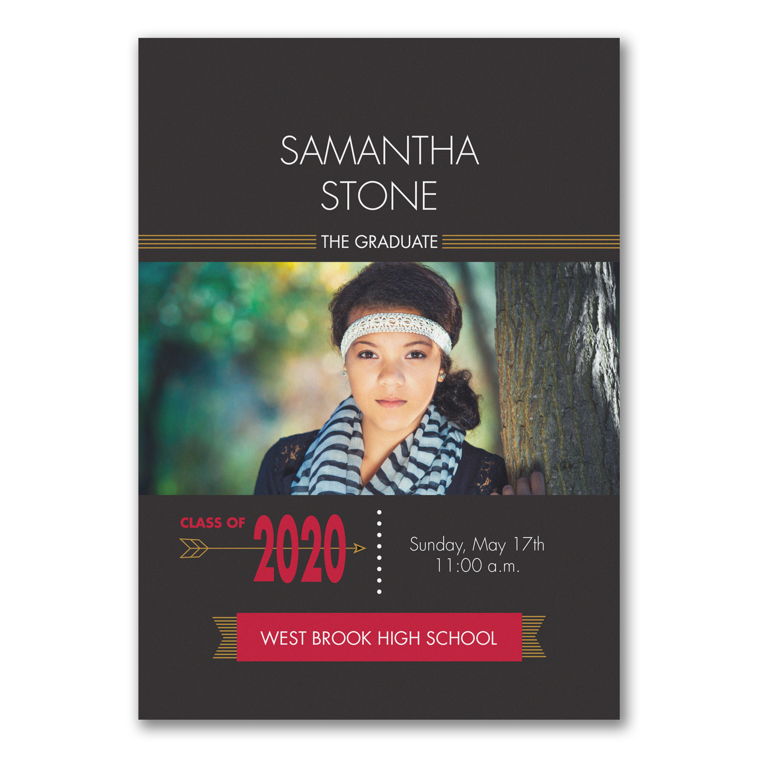 black and red photo graduation announcement