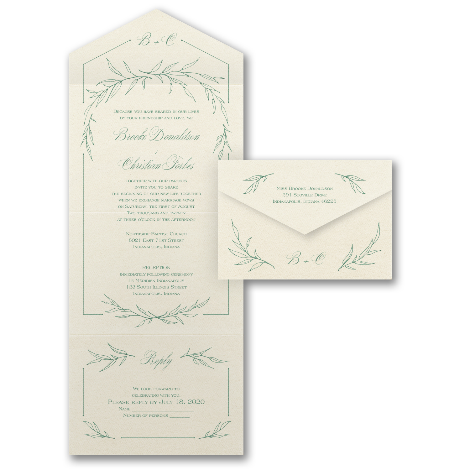 mystical vines all in one wedding invitation