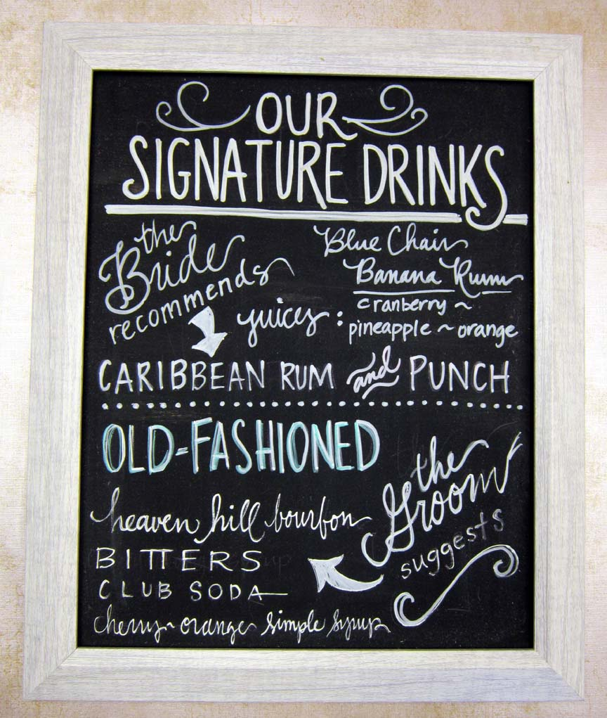 chalkboard signature drink sign