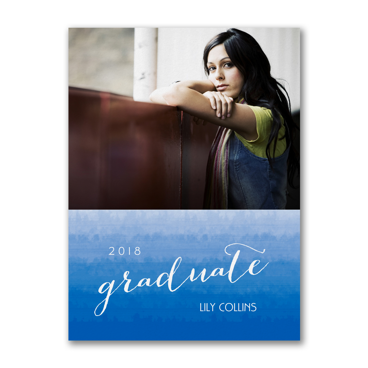 ombre photo graduation invitation
