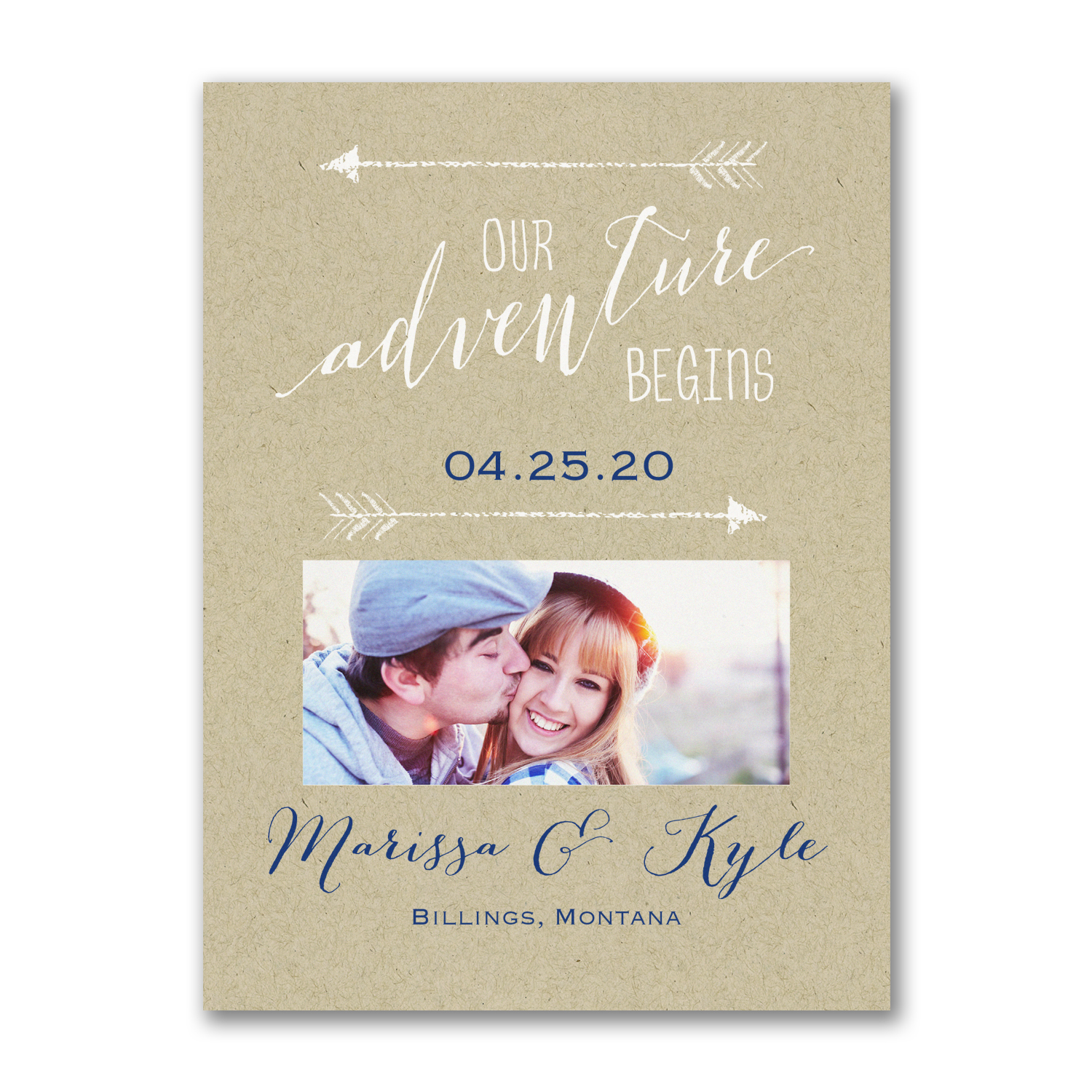 our adventure begins photo save the date kraft paper save the date
