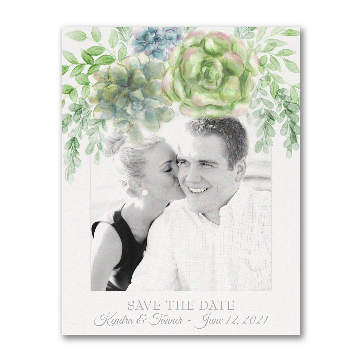 succulent watercolor photo save the date postcard