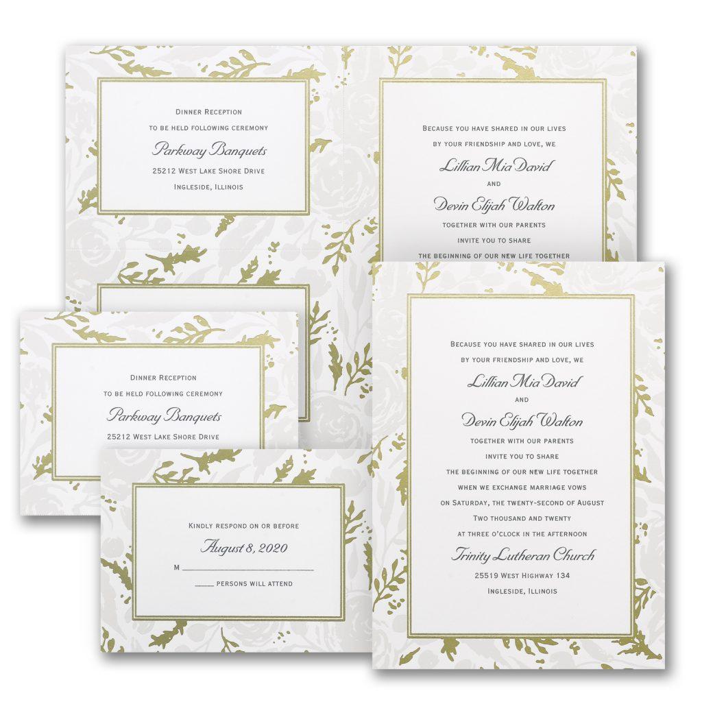 pearl rose wedding invitation budget friendly