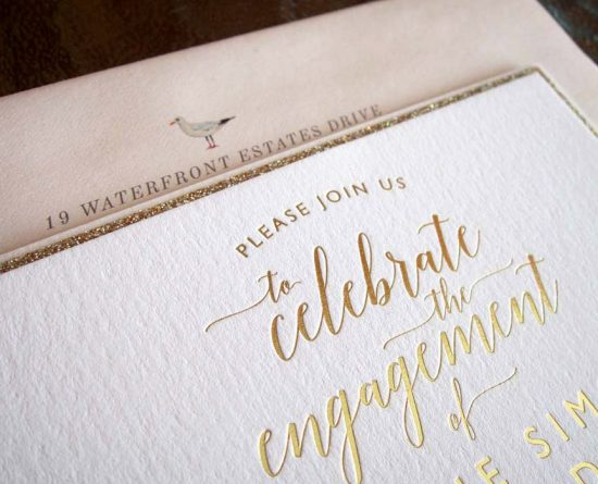Gold foil engagement party