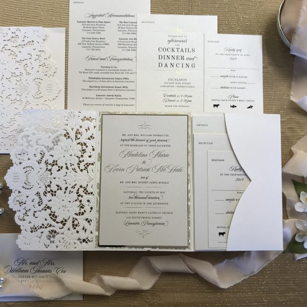 gold foil wedding invitation white laser cut pocket