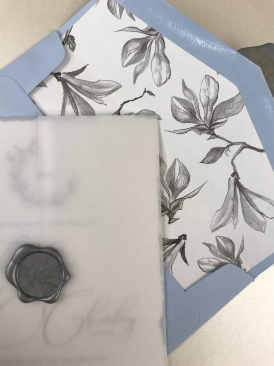 vellum wedding invitation envelope liner