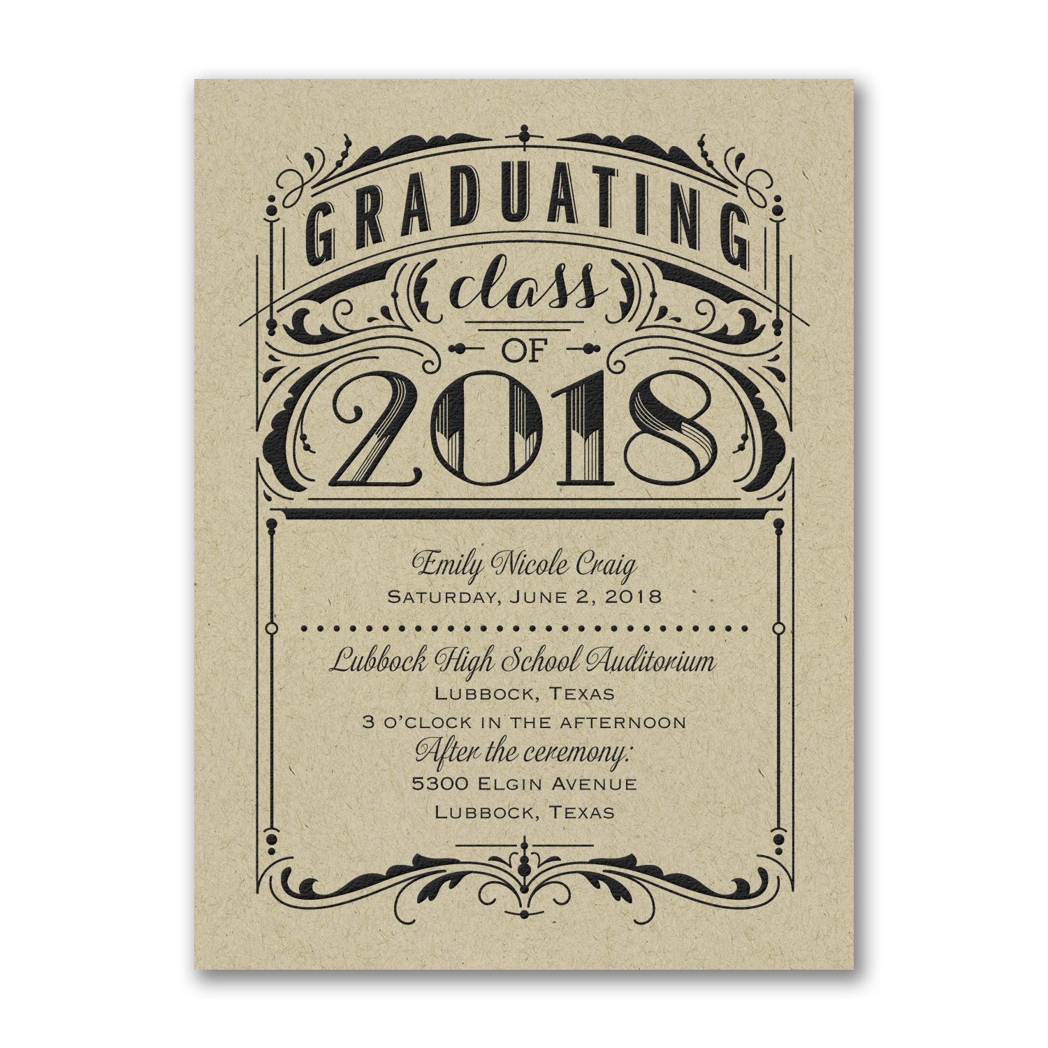 kraft paper modern graduation invitation