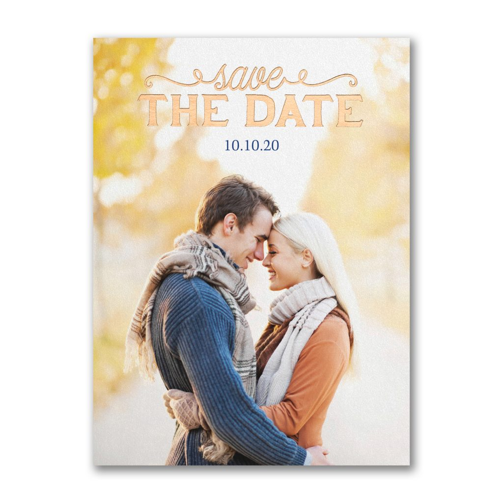 copper foil photo save the date