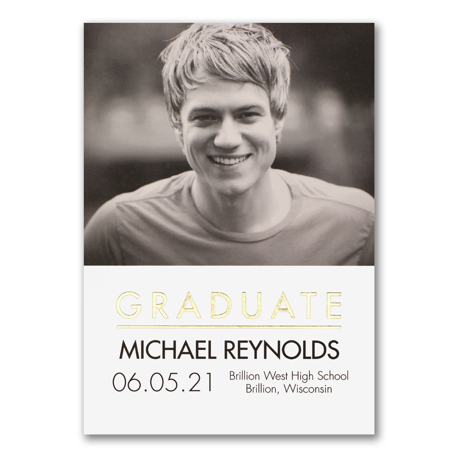ready to shine gold and white photo graduation announcement