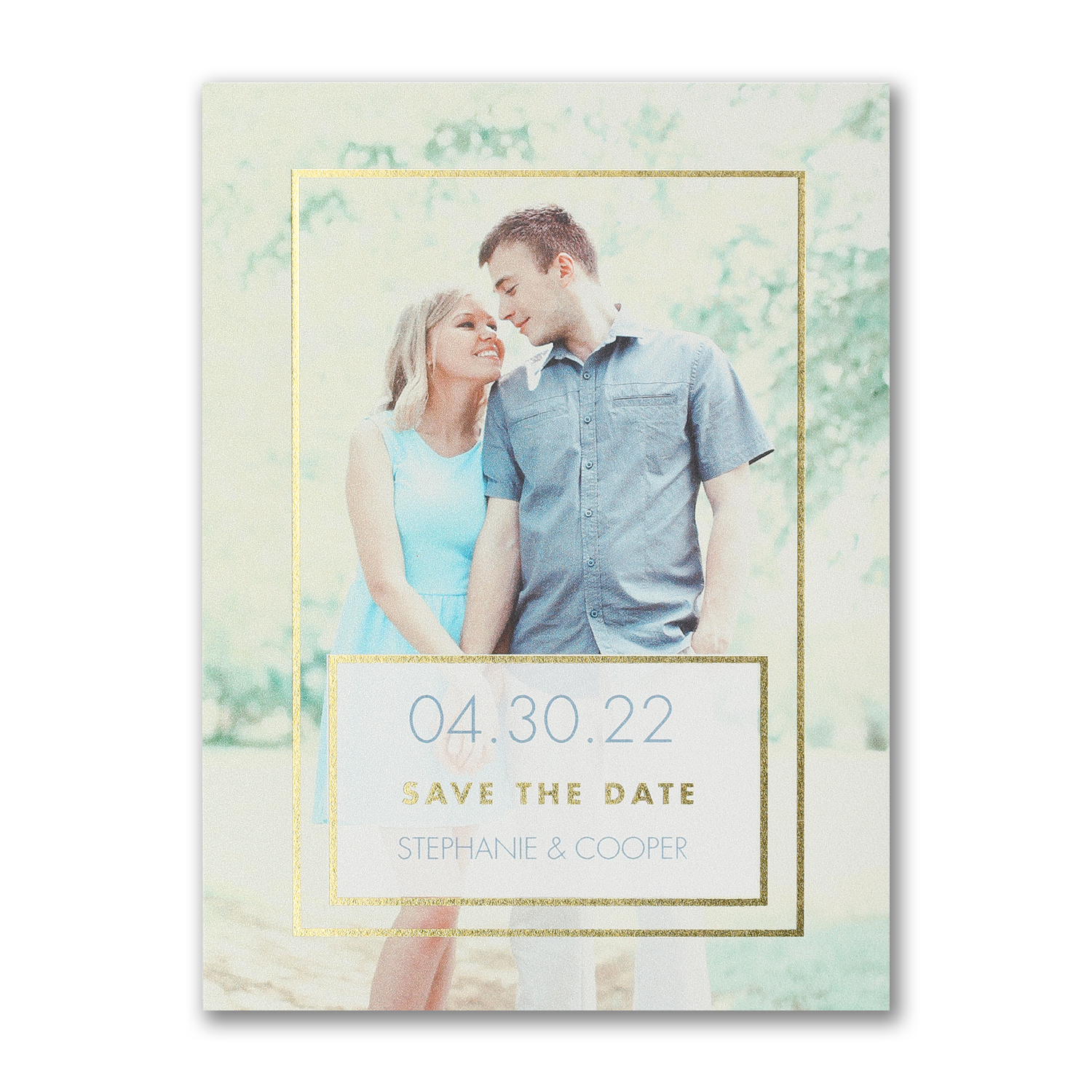 romantic frame gold foil photo save the date carlson craft