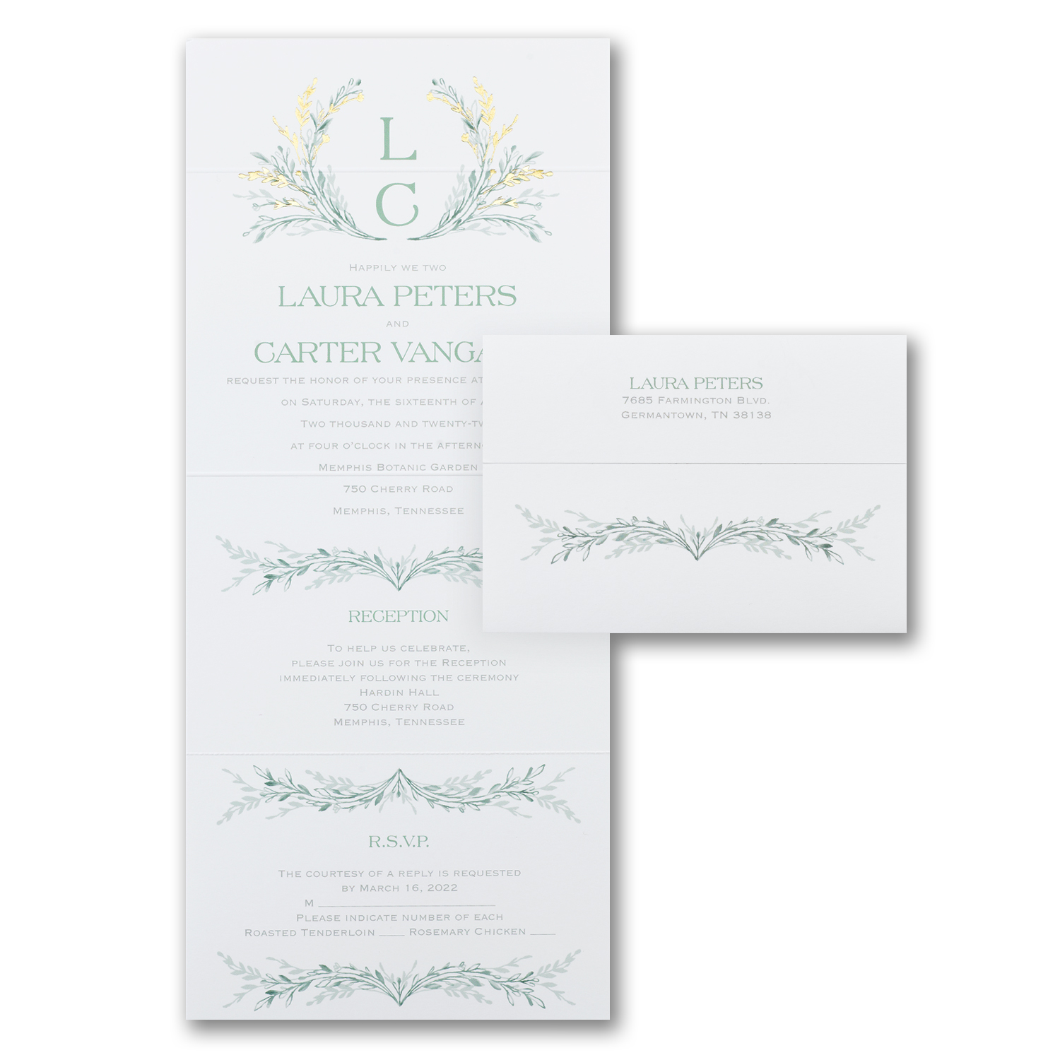 greenery all in one wedding invitation