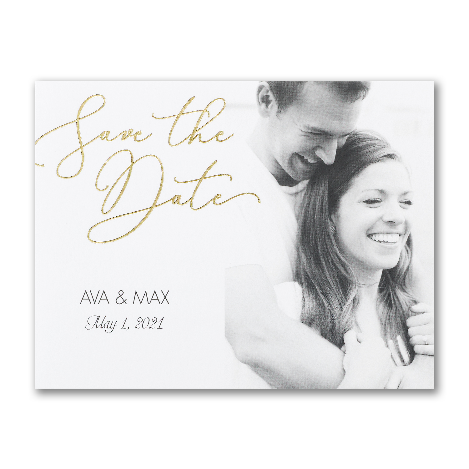 gold foil photo save the date postcard