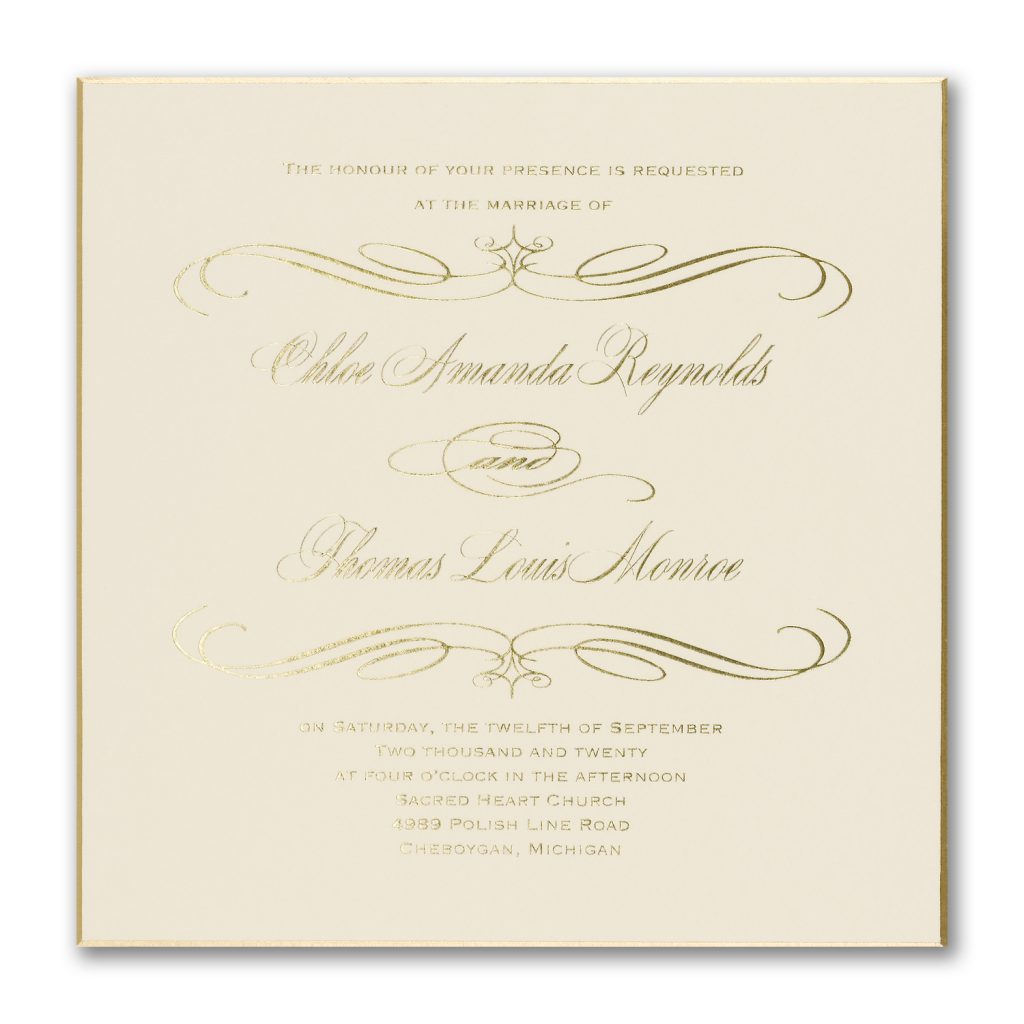 square foil invitation