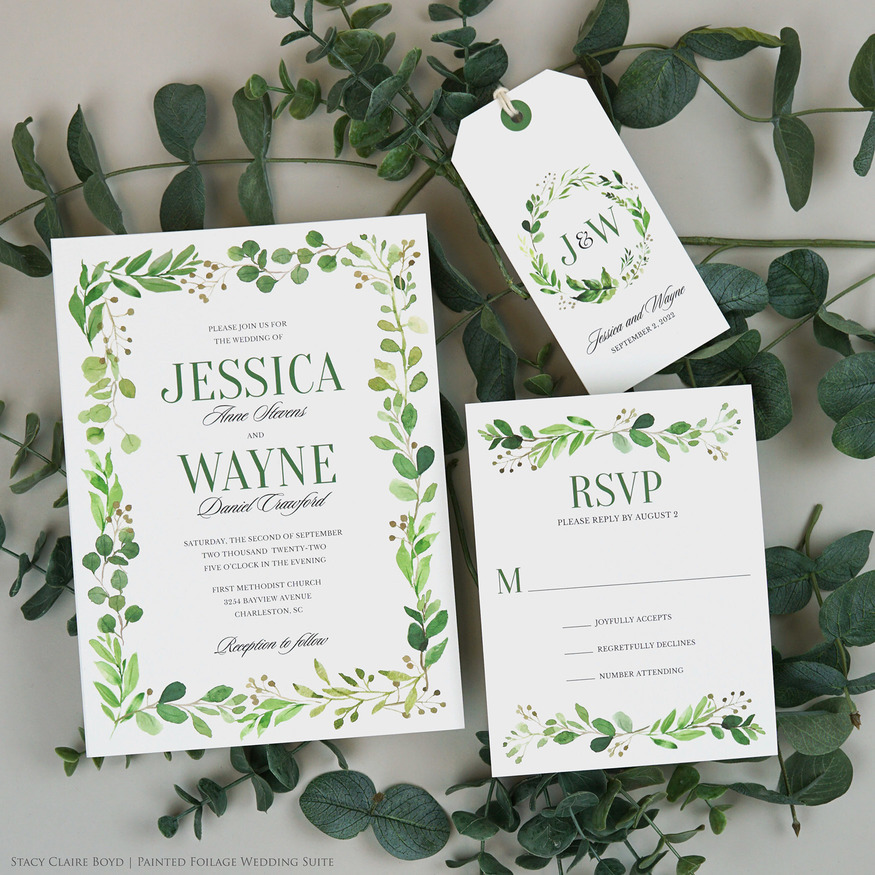painted foliage wedding invitation suite greenery watercolor printswell