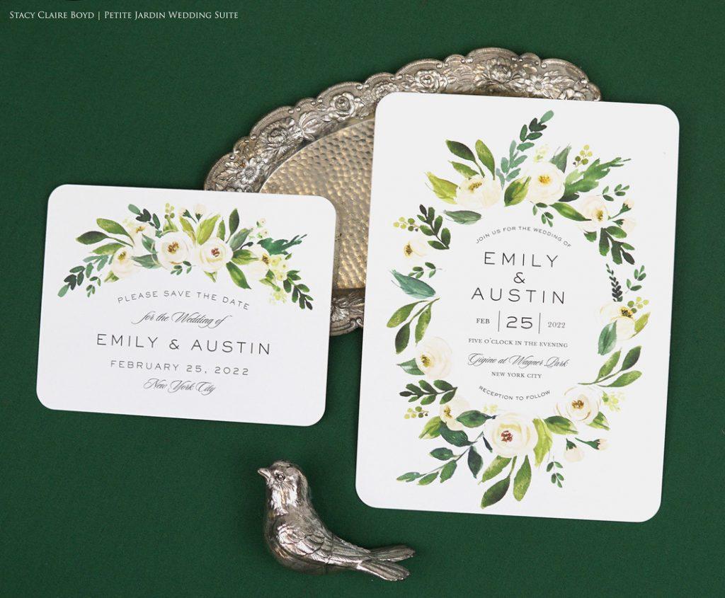 petite jardin watercolor floral wedding invitation printswell